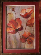 Field Poppies - from photograph - pastel & colour pencil: 58 x 77 cm framed: Price $385