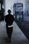 Bowler hat in London smog: after Henri Cartier Bresson:: Oil on canvas: 51 X 82 cm. SOLD
