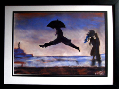 Leap for Joy: after Henri Cartier Bresson:: Pastel and pencil 67.5 X 48.5 cm-framed: Price $ 325