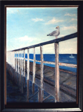 Seagull on jetty- from a magazine image: Oil on canvas: 73 x 61 cm framed: Price $350