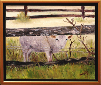 Lamb through the fence from Australian Country Style magazine: Oil on canvas 34 x 29 cm framed: Price $250