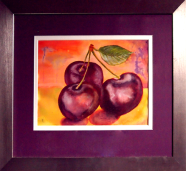 Lucious Cherries:: Watercolour from a photograph: 59 x 51 cm. framed: Price $275