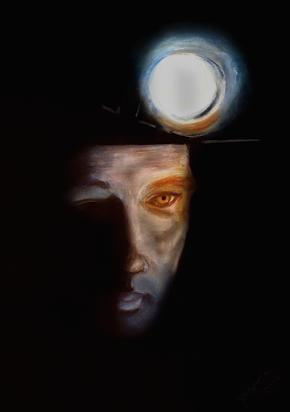 "Aussie Miner from photo image ""Australian Mining"": Pastel 36 x 59 framed: Price $250"
