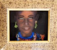 African Girl in tribal dress: Pastel: 61 x 51 framed: Price $395