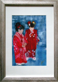 Japanese Cuties from photo by R & G Coleman 2016: Watercolour: 47 x 34 cm framed: Price $275