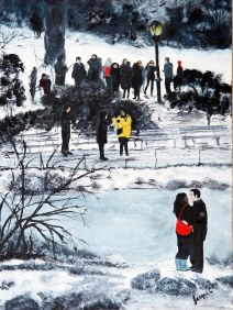 NEW: Lovers in Central Park: Oil on Canvas: 460 x 610 mm: $450